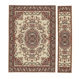 Cinnabar and Silver Medallion Rectangle Rug and Runner Set