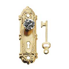 Crystal Opryland Doorknob w/Plate & Key by Houseworks