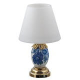 Blue and White Floral Table Lamp by Houseworks