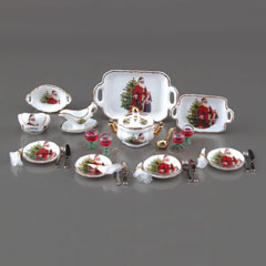 Old World Santa Dinner Table Setting for Four by Reutter Porzellan