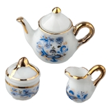 3-Pc. Blue Onion Tea Pot Set by Reutter Porzellan
