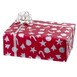Large Wrapped Red and Silver Christmas Present