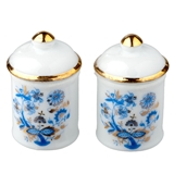 Two Large Blue Onion Canisters