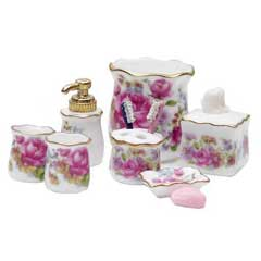 10-Pc. Dresden Rose Bath Accessory Set by Reutter Porzellan