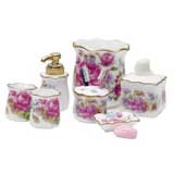 10-Pc Dresden Rose Bath Accessory Set by Reutter Porzellan