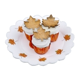 Three Autumn Leaves Cupcakes on Doily
