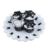 Four Spider/Web Cupcakes on Doily