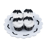 Four Bat Cupcakes on Doily