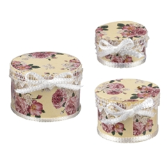 Three Floral Hat Boxes by Reutter Porzellan