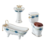 3-Pc. Blue Rose Bath Set from Reutter Porzellan