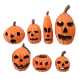 Set of Seven Carved Pumpkins