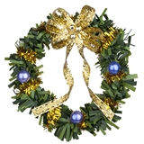 Blue and Gold Christmas Wreath