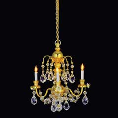 Houseworks 3-Arm Brass Grandeur Crystal Chandelier