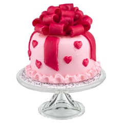 Ribbon and Hearts Cake on Stand