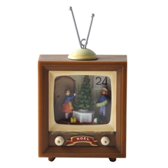 Vintage TV with Tree-Trimming Scene