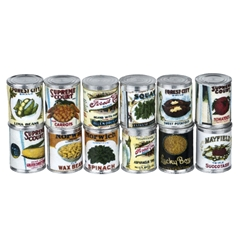 12-Pc Vintage Canned Vegetable Set