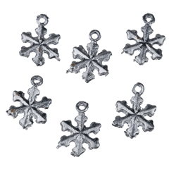 Six Silver Snowflake Ornaments
