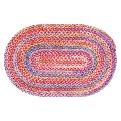 Pink Oval Braided Rug