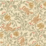 Cream Birds & Berries Wallpaper (1 inch Scale)