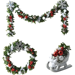 Three Piece Silver Snowflake Garland Set