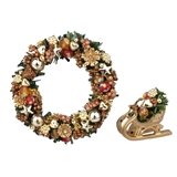 Colorful Gold Wreath and Tabletop Sleigh