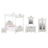 1/24 Scale 5-Pc. White French Canopy Bedroom Set