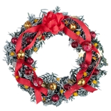Red and Gold Flocked Christmas Wreath