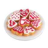 Iced Heart Cookies on Plate