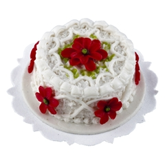 Poinsettia and Piping Cake