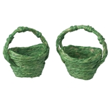A Pair of Green Straw Baskets