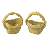 A Pair of Yellow Straw Baskets