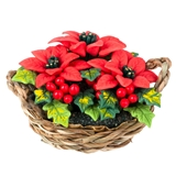 Poinsettias in Woven Basket