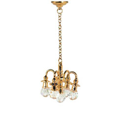Non-Working Brass & Crystal Chandelier