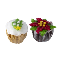 Pair of Christmas Tree and Poinsettia Cupcakes