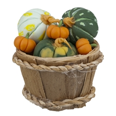 Six Pumpkins/Gourds and Basket