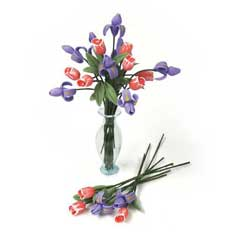 12 Irises and 12 Tulips With Clear Vase