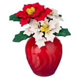 Red and White Poinsettias in Vase