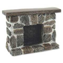 Gray and Tan Fieldstone Fireplace