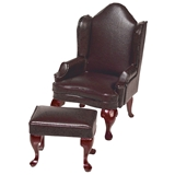 Brown Leather Wing Chair & Ottoman