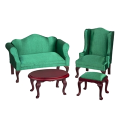 4-Pc Emerald Green Queen Anne Living Room Set