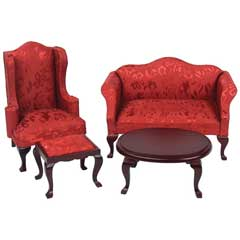 4-Pc. Red Queen Anne Living Room Set