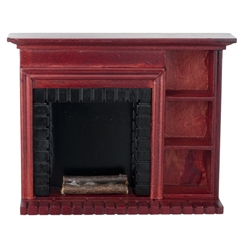 Mahogany Fireplace with Shelving