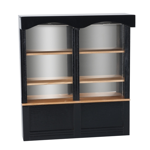 Black Mirrored Cabinet in Use