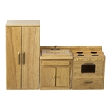 3-Pc Oak Traditional Kitchen Set