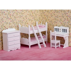 Six Piece White Bunk Bedroom Set with Pink Bedding
