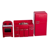 Red 1950s 4-Pc. Kitchen Appliance Set