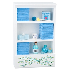 Bathroom Cupboard With Blue Accessories