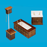 3-Pc Walnut Victorian Bathroom Set