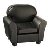 Black Leather Look Club Chair