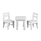 3-Pc White Child's Table and Chairs Set